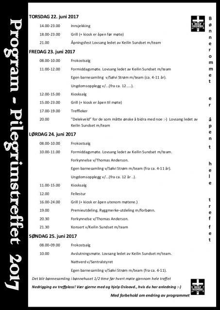 Pilegrimstreffet 2017 - Program